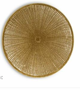 """Abyss Mirror Round Bath Rug 29"""" Diameter ~Gold/White Made in Portugal ~NWT"""