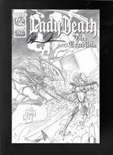 Lady Death The Crucible 1/2 1996 Canvas Cloth Sketch Variant signed Brian Pulido