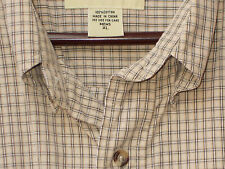 Eddie Bauer Shirt XL Mens Black White Tan Plaid Long Sleeves Button Collar