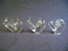 Art Glass Paperweights Figurines, 3 Snails Filled of Controlled Air Bubbles, 3""