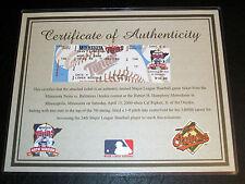 Cal Ripken Jr Career Hit # 3000 Orioles Twins 4-15-2000 Ticket Stub w/ COA MINT!