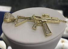Solid 925 Sterling Silver AK-47 Gun Mens Charm Pendant- Silver & Gold