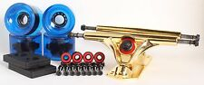 70mm 78a Clear Blue Longboard Wheels and Gold Reverse Kingpin Truck Combo Set