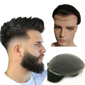 """Swiss Lace Mens Toupee Human Hair Piece System Replacement for men10X8"""""""