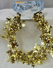 Christmas Snowflake Decoration - 9 Feet Long Wire Garland - GOLD (5 Count)