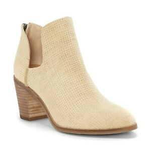Lucky Brand Women Cut Out Ankle Booties Powe Size US 9M Beige Suede