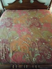 Pottery Barn King Duvet Cover 100% Cotton Paisley Floral Red Rust Green Cream