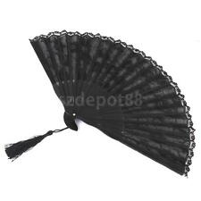 Black Floral Lace Hand Held Folding Fan Summer Dance Party Costume Accessory