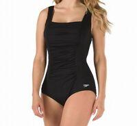 Speedo Womens Swimwear Black Size 12 Ruched Shirred Square Neck Swimsuit $82 585