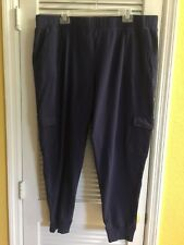 Denim & Co Active French Terry Cargo Pant Rubbed Cuffs NAVY Sz 2X