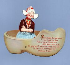 Vintage Valentine's Day Card VALENTINE Frances Brundage MECHANICAL Wooden Shoe