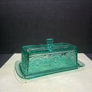 The Pioneer Woman Glass Butter Dish Adeline Turquoise Quarter Pound