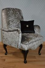 Shabby Chic Boutique Boudo Small Bedroom Chair Silver Crushed Velvet