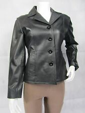 Ladies Black Napa Leather Slim Tight Fitted Short Biker Jacket Punk Bike