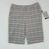 Annika Women's Golf Shorts Gray Orange Plaid Mid Length Above Knee Size 4