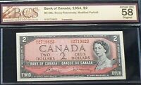 1954 BANK OF CANADA $2  almost uncirculated BCS 58