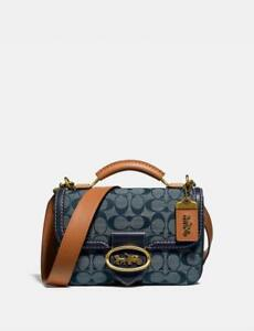 Coach Riley Top Handle 22 In Signature Chambray B4/Chambray Midnight Navy
