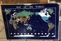 "38"" X 26"" -GEMSTONES-  MAP OF THE WORLD- Brass Frame"