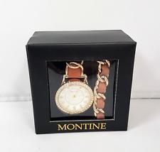 Montine Ladies Penny Fabric Gold Coloured Jewellery Set Gem Watch Bracelet J5