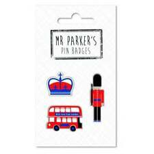 Mr Parker's Pin Badges Crown, London Bus & Beefeater
