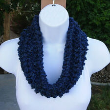 Dark Navy Blue SUMMER COWL SCARF Small Short Handmade Crochet Knit Infinity Loop