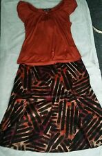 ACCESSORIES Women KALEIDOSCOPE 3 pce Ladies Top Skirt Necklace Set Size 14 NWT