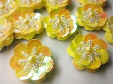 "3/4""  Handmade Iridescent Gold Flower Sequin Bead Applique, 25 Pieces Set 20 mm"