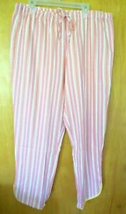 New Womens M Coral striped woven Sleep Pants
