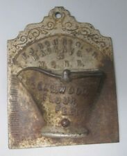 ANTIQUE CAST METAL WALL MATCH HOLDER MI CENTRAL RAILROAD COAL WOOD FLOUR FEED