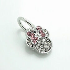 1 minnie mouse pink clear rhinestone European Charm Bead Fit  Bracelet fr02