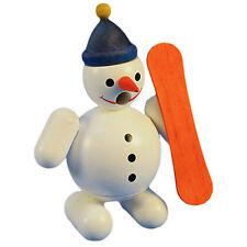 Mini Wooden Snowman Orange Snowboard Incense Burner Smoker Made In Germany