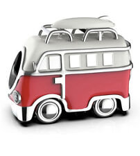 🇬🇧💜💜925 STERLING SILVER RED CAMPERVAN CHARM & POUCH