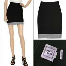 Auth Herve Leger Black Grey Colour Block Stretch Bandage Mini Skirt Size XS US 2