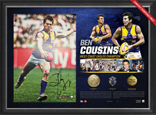 Ben Cousins Signed West Coast Eagles AFL Signed Career Litho Framed + 3 Medals