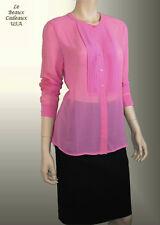 NEW BANANA REPUBLIC Women Top Blouse Shirt SMALL S Pink Sheer Long Sleeve