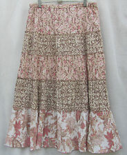 ANN TAYLOR Prarie Western Tiered M Brown/Pinks Cotton Bld SkIrt Country Skirt