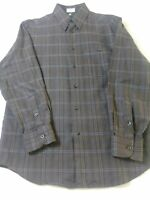 Zanella Mens Shirt Size M Brown Check Long Sleeve Button Front 100% Cotton