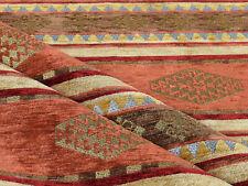 Upholstery fabric Kilim ethnic tapestry southwestern boho orange brown textile