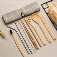 Dinnerware Set Wooden Spoon Fork Knife Bamboo Cutlery Tableware Sets Wood Straw