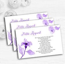 Beautiful Cadbury Purple Watercolour Flowers Wedding Gift Money Poem Cards