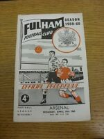 18/04/1960 Fulham v Arsenal  (Team Changes). Thanks for viewing our item, buy wi