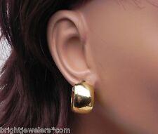 Ladies 14k Yellow Gold Wide Hoop 16.2 Grams Earrings w/Huggie Back