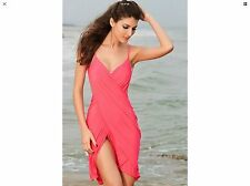 Cross Front Pink One Size Swimsuit Coverup Wrap Dress