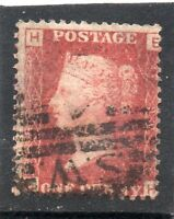 Queen Victoria used One penny red stamp. SG43 plate no. 90. Letters E H