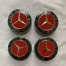 4pcs x For Mercedes Benz Wheel Center Caps Emblem Black Red Chrome Hubcaps 75MM