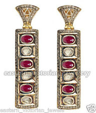 Victorian Estate 2.49cts Rose Antique Cut Diamond Ruby Silver Jewelry Earring