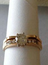 Diamond Engagement ring wedding band set 14k yellow Gold .52 carat round diamond