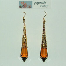 Gold P Filigree Acrylic Fp 8.5cm Long Brown Victorian St Earrings
