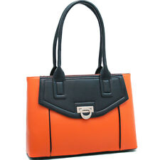 New Dasein Womens Handbags Chic Leather Shoulder Bag Satchel Purse Orange/Black