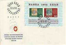 LETTRE SUISSE BERN AUSGABETAG 1965 BLOC NABA 1966 BERN
